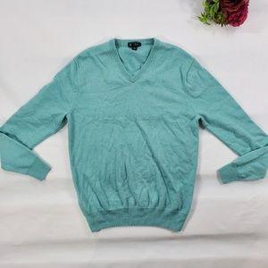 J. Crew V- Neck 100% Italian Cashmere Sweater Blue